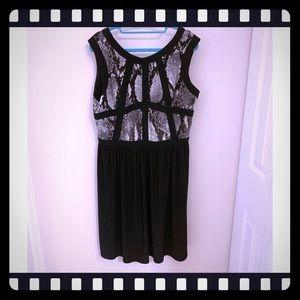 R&M Richards Black Snakeskin Pattern Dress 14